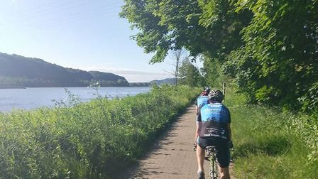 The riders along the glorious Rhine river
