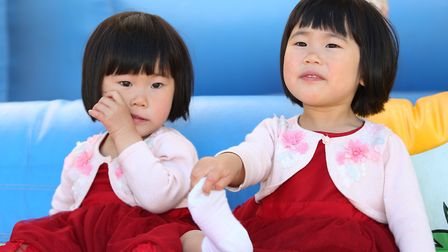 Ruby and Lily Hu, 2 at the William Ransom summer fete. Picture: Danny Loo