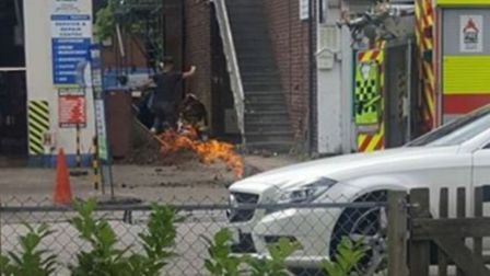 The gas leak fire in Pixmore Avenue in Letchworth. Picture: Robert Thompson