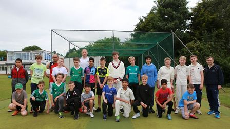 Posing in front of the new nets at Letchworth Garden City Cricket Club. At far right is Letchworth G