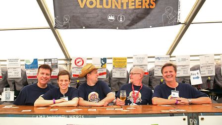 Hitchin Beer Festival organiser Jon Kirby (third from left) with other volunteers at the Hitchin Bee