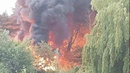 Firefighters tackling the fire in Fairlands Valley Park, Stevenage. Picture: Supplied to the Comet