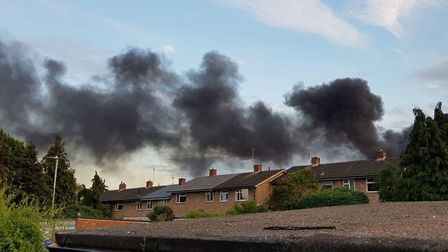 Smoke from the fire in Fairlands Valley Park, Stevenage, could be seen from across the town. Picture