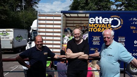 Danny Wells from Better Removals and Storage with Clive Hall and Keith Crook from the Hitchin collec