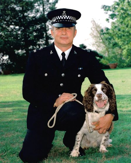Police dog Brewster with his handler PC Dave Pert. Picture: Beds police