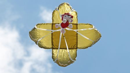 A teddy parachutes down at Hitchin Fire Station Open Day. Picture: Danny Loo
