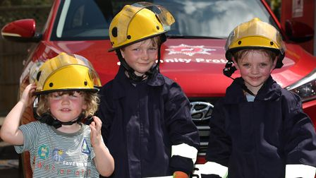 Seraph, 2 and Logan Cullen, 5, and Ethan Cole, 5 at Hitchin Fire Station Open Day. Picture: Danny Lo