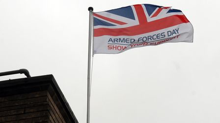 The Armed Forces Day flag flies above Stevenage Borough Council's offices. Picture: Kevin Lines