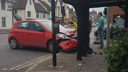 A car collided with the front of a listed building in Baldock last night
