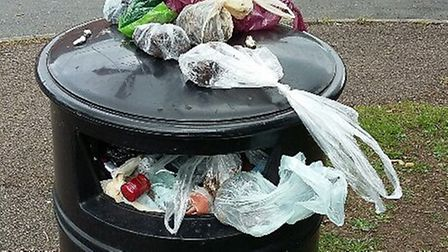 The bin outside Lordship Farm School in Letchworth on May 31. Picture: Andy Ellmers