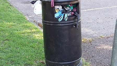 The bin outside Lordship Farm School in Letchworth on June 1. Picture: Andy Ellmers