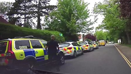 The scene in Letchworth's Spring Road at about 2.35pm yesterday. Picture: Gaby Costantini