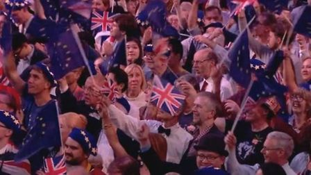EU flags at the Last Night of the Proms. Photograph: BBC