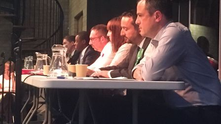 All the candidates at the Hitchin Hustings this evening...