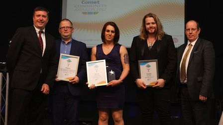 Good Neighbour of the Year Samantha Wood (centre) with fellow finalists, host David Croft, and Paul
