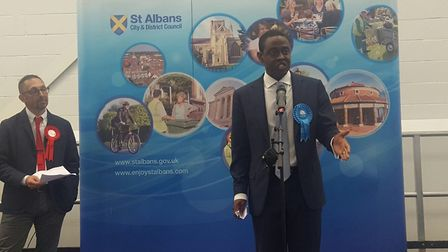 The new Hitchin and Harpenden MP Bim Afolami, who has retained the seat for the Conservatives. Pictu