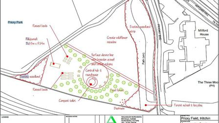 The plans for a community garden and wildlife meadow near Priory Park.