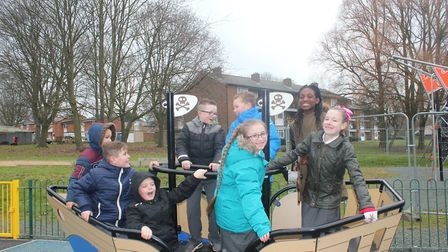 Broom Barns School children at Bedwell Park which was revamped by Stevenage Borough Council with the