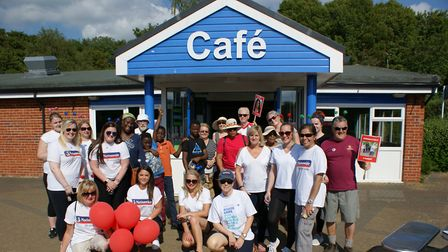 People gathered at Costello's Cafe in Fairlands Valley Park in Stevenage on Saturday to walk in memo