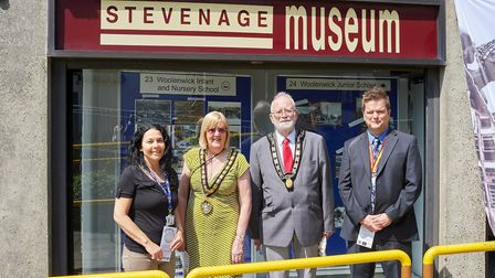 From left, exhibition organisaer Christina Anderson, Mayor of Stevenage Pam Stuart Tony Turner and A