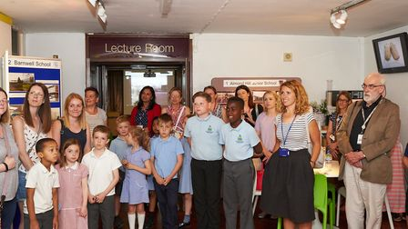 Pupils and staff from some of the participating schools listen as Mayor of Stevenage Pam Stuart open