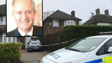 Police outside the house in Whitethorn Lane where Nicolas Daher, inset, died in January.
