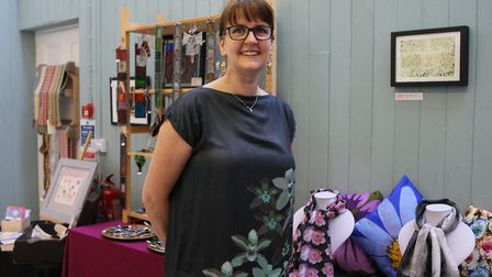 Sarah Moroney with her textile designs. Picture: Karyn Haddon.