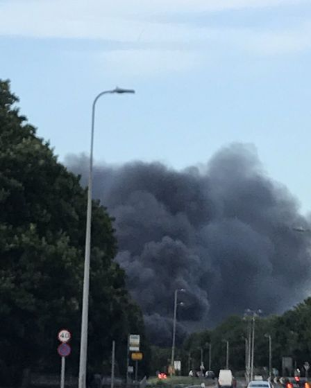 The black plume of smoke coming from Fairlands Valley Park in Stevenage, as captured by Rachel Meen