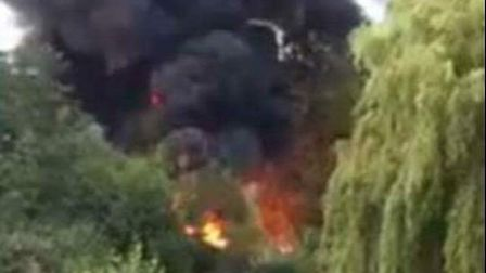 Black smoke could be seen bellowing from the island within Fairlands Valley Park, Stevenage. Picture