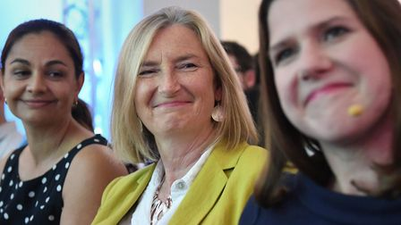 Former Tory MP Sarah Wollaston (centre) with leader of the Liberal Democrats Jo Swinson. Photograph: