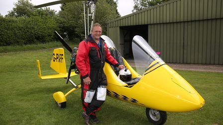 Steve Paffett with his autogyro. Picture: Danny Loo