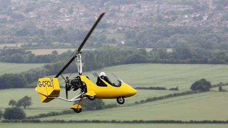David Taylor in his AutoGyro. Picture: Danny Loo