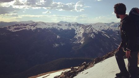 Joel Strickland from Baldock looks out across the Rocky Mountains in Colorado. Picture: Joe Boot