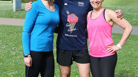 Stevenage parkrun: Brian White with daughters Gemma and Kerry. Picture: Karyn Haddon