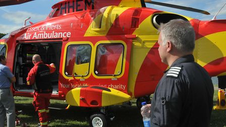 Essex & Herts Air Ambulance pilot Jim Lynch enjoys a well-earned break at Fairlands Valley Park in S