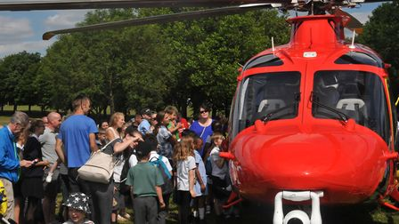 Admirers mob the Essex & Herts Air Ambulance at Fairlands Valley Park in Stevenage. Picture: JP Ashe