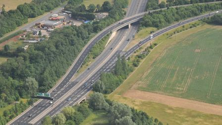 The junction of the A11 and A505 next to Great Abington, between Cambridge and Saffron Walden. Pictu