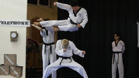 Visitors from a taekwondo gym in South Korea put on a demonstration in Fairlands Primary and Junior
