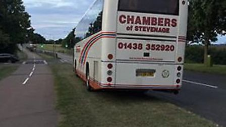 This Chambers coach was spotted parked up overnight on a grass verge in Grace Way, Stevenage.