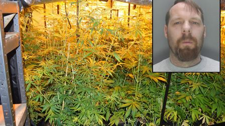 Jailed drug dealer Leigh Windsor, inset, and the cannabis factory found by police at Shangri-La Farm