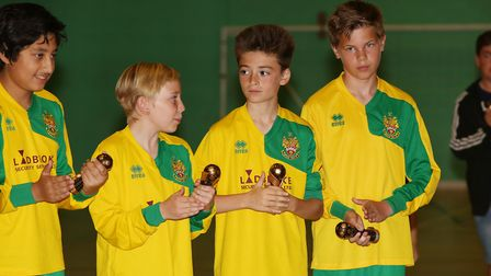 Hitchin Town FC under 12's receive their trophies. Picture: Danny Loo