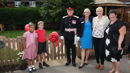 The opening of the new sensory garden at Raynsford Church of England Academy with competition winner