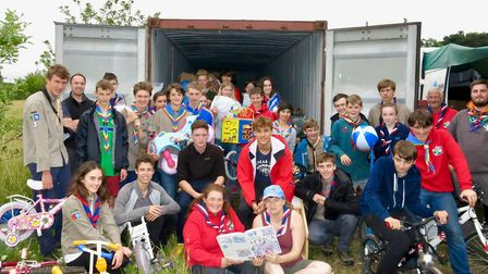 Exhibition leader Tracey Dobinson and the scouts. Picture: Simon Carter