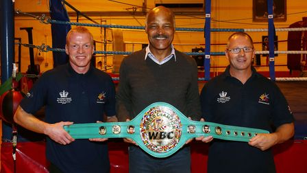 Former boxing champion John Conteh with Box Cleva coaches George Luis (left) and Wayne Armstrong at