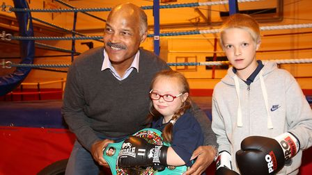 Box Cleva patron John Conteh meets youngsters at Stevenage Amateur Boxing Club. Picture: Danny Loo