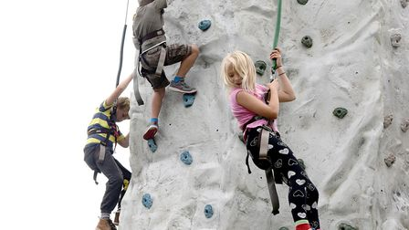 Children enjoy the climbing wall at #SCOUTitOUT in Hitchin. Picture: Alan Millard