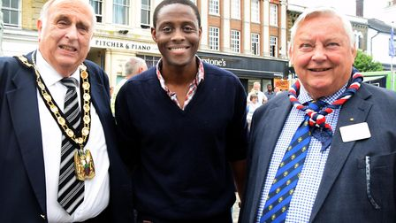 North Herts District Council chairman Alan Millard with Hitchin MP Bim Afolami and Hitchin Scouts' d