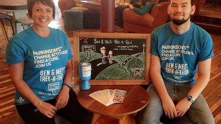 Melissa Birks and Ben Roe at the Cultivo Lounge in Letchworth ahead of their three-day trek to Brigh