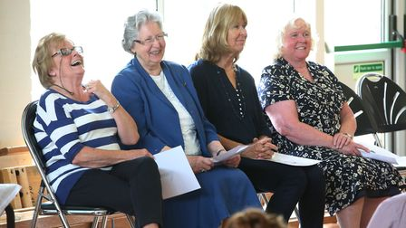 Woolgrove School former heads are introduced during an assembly at the school's 40th birthday celebr