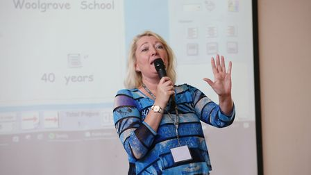Woolgrove School current head Lisa Hall speaks during an assembly to celebrate the schools 40th birt